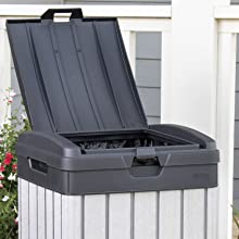 keter rockford duotech outdoor trash can with latchable lid