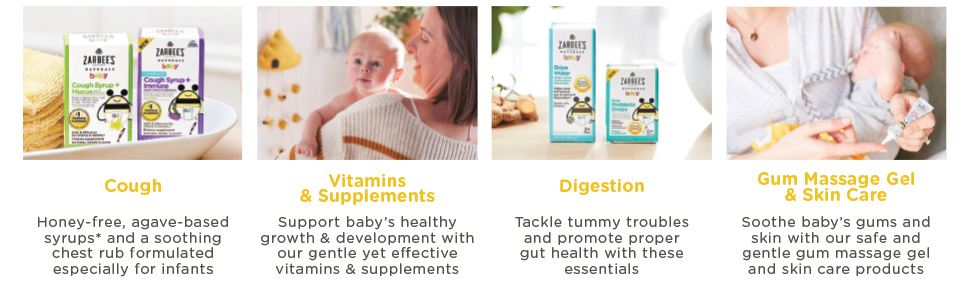 Zarbees products are for baby cough, vitamins & supplements, digestion and Gum.