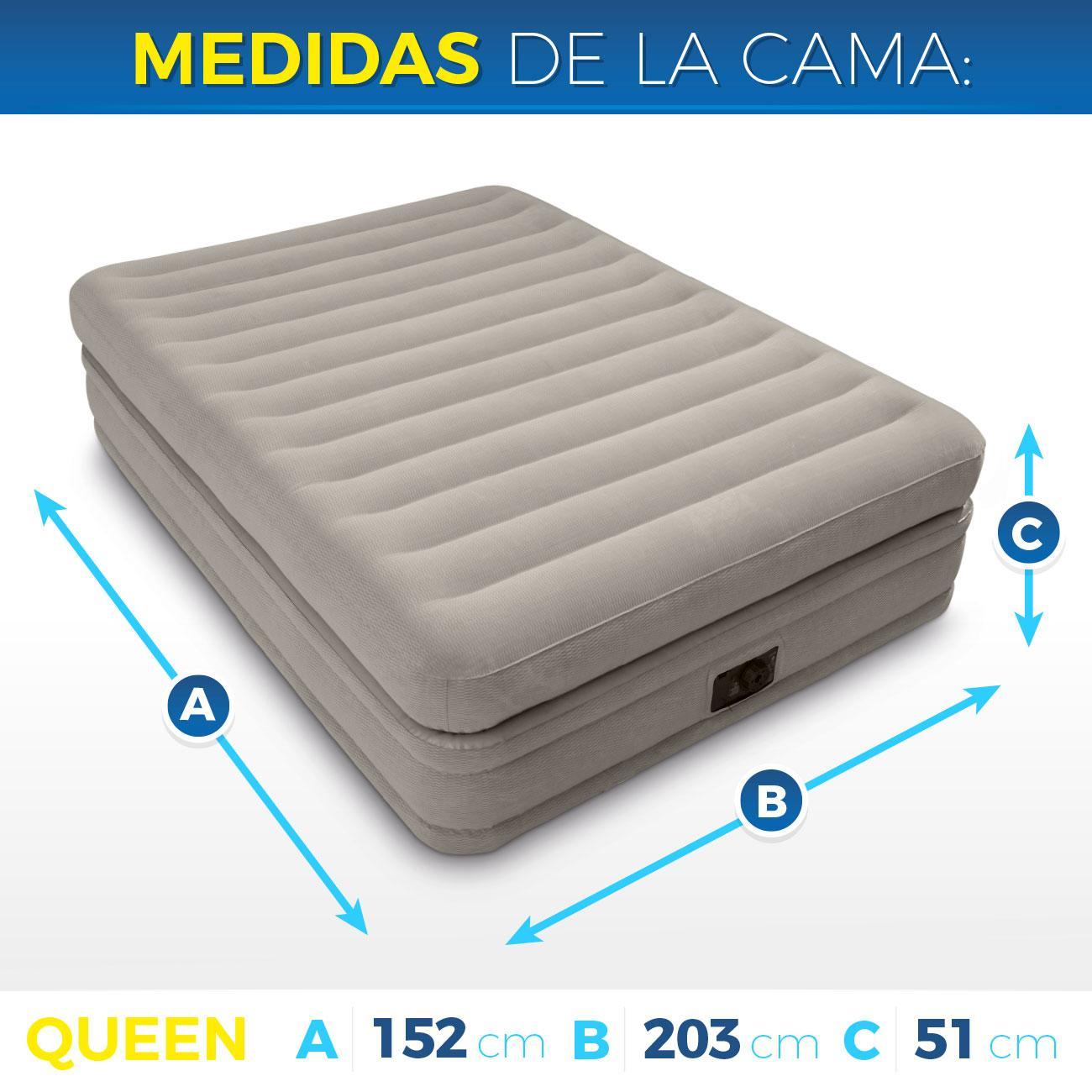 Intex colch n hinchable intex fibertech doble capa for Medidas colchon cama sencilla