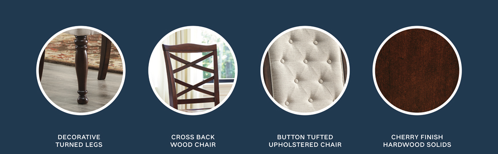 decorative turned legs cherry finish button tufting cross back wood chairs