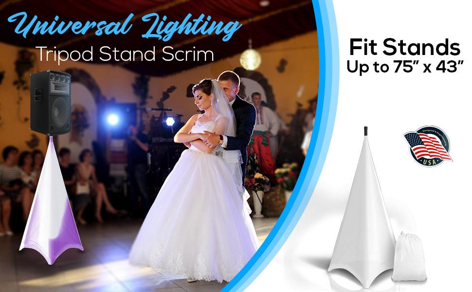 for Tripod Stands Universal /& Mountable PSCRIM3B DJ Speaker Light Stand Scrim