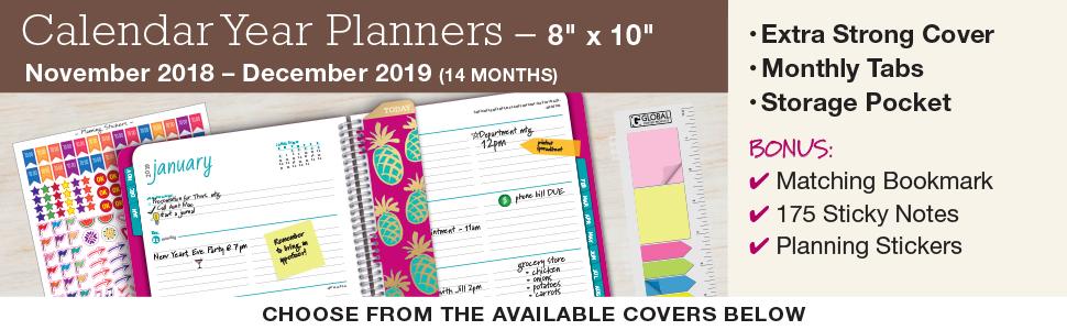 Amazon.com : HARDCOVER Calendar Year 2019 Planner: (November ...