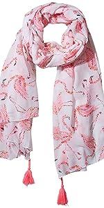 Tickled Pink pink flamingo on light pink background print with pink fringe summer scarf
