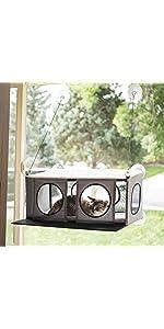 Cat;window;perch;hammock,sill;kitty;feline;pad;bed;mount;sun;bask;pad;interactive;view;watch