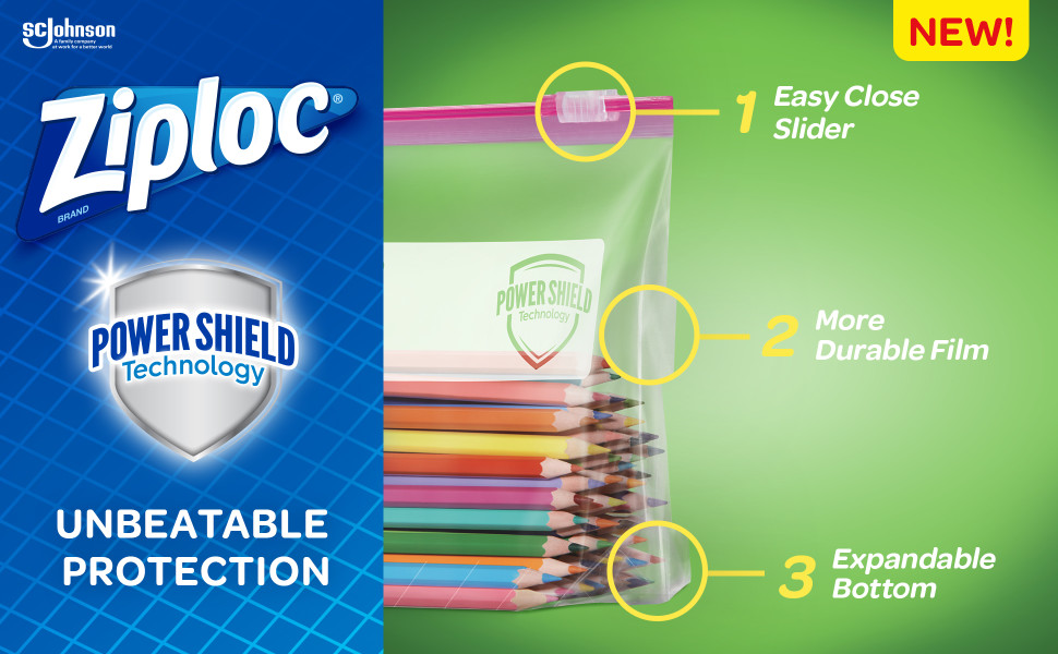Ziploc Brand Slider Storage Gallon Bags with Power Shield