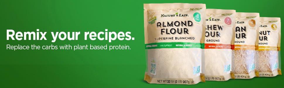 remix, header, nut flour