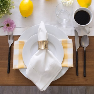 Table setting using the white hemstitch table runner and napkin.