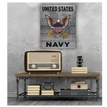 Gray Weathered Logo Navy Pallet Pride Wall Sign
