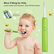 NeoCre Kids Rechargeable Sonic Electric Toothbrush Just-for-Kids Safest Material Lower Noise Dentists Recommended Vibration Cartoon Stickers 25 Days Duration Wireless Charging IPX7 100/% Waterproof