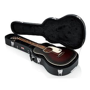 gator hard shell wood case for 3 4 size acoustic guitars musical instruments. Black Bedroom Furniture Sets. Home Design Ideas