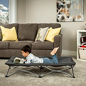 Gray portable toddler bed