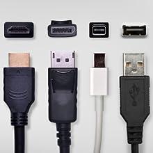 DisplayPort, Mini DisplayPort, HDMI, USB