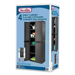 Amazon.com: Sterilite 01423V01 4 Shelf Cabinet, Flat Gray Cabinet ...