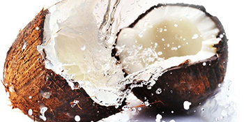 Imagery of a Cracked Coconut with Coconut Water Splashing