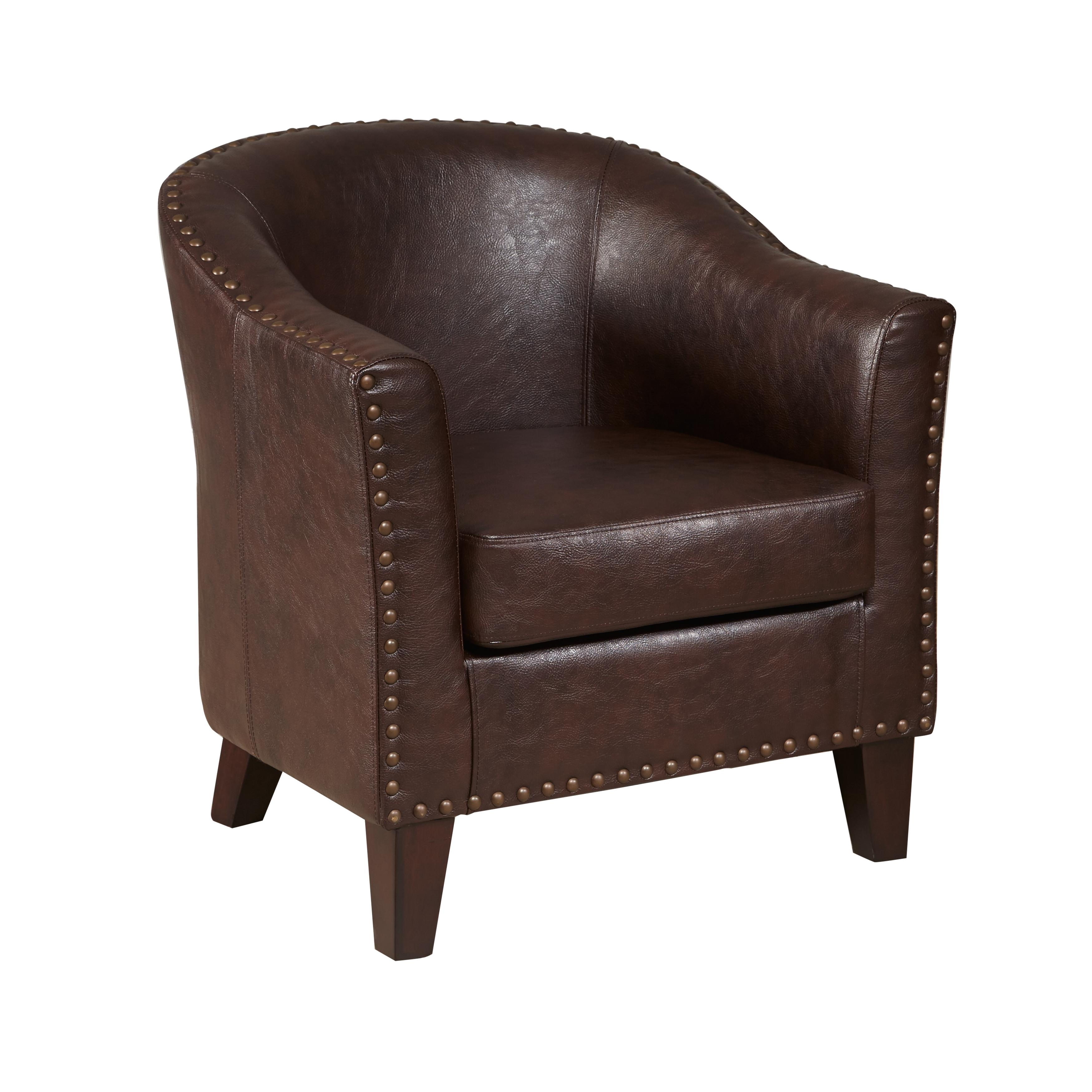 Tan Leather Accent Chair: Pulaski Faux Leather Barrel Accent Chair, Medium, Brown