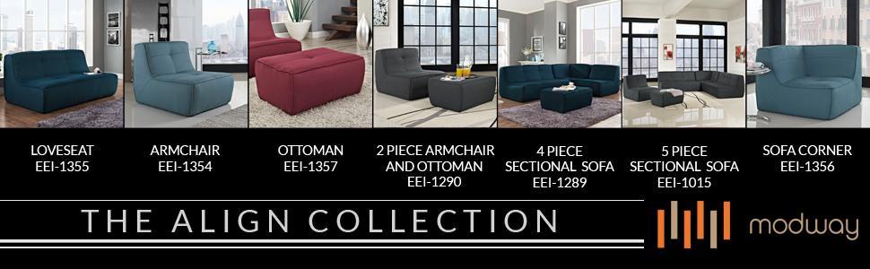 Couch, Upholstered, Fabric, Large, Ottoman, Tufted, Office, Ottoman, Rivet, DHP, Ashley, Novogratz