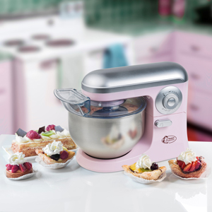 Bestron Robot de Cocina con Batidor, Gancho para Masa y Brazo Mezclador, Diseño Retro, Sweet Dreams, 1.200 Vatios, Rosa: Amazon.es: Hogar