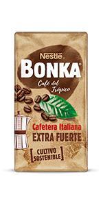 BONKA Café Molido de Tueste Natural Puro Colombia y Cultivo Sostenible, Paquete de Café de 8 x 220 g