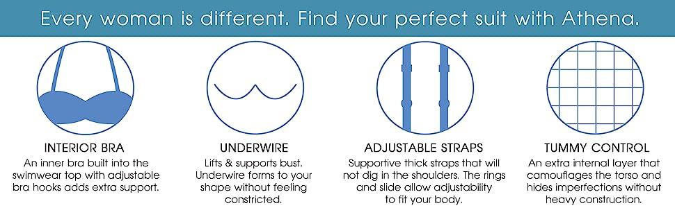 womens swimwear, swimsuit, interior bra, underwire, adjustable straps, tummy control, full coverage