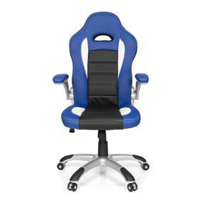 hjh OFFICE 621890 silla de gaming RACER SPORT piel sintética azul / negro, apoyabrazos plegables, respaldo inclinable, silla oficina, silla racing