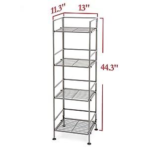 sevilleclassics steel metal iron slat wrought freestandingtower shelf home small compact expandable
