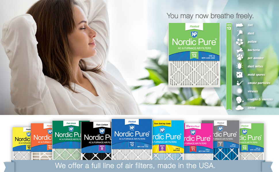 Nordic Pure 16x30x1 MERV 13 Tru Mini Pleat AC Furnace Air Filters 1 Pack