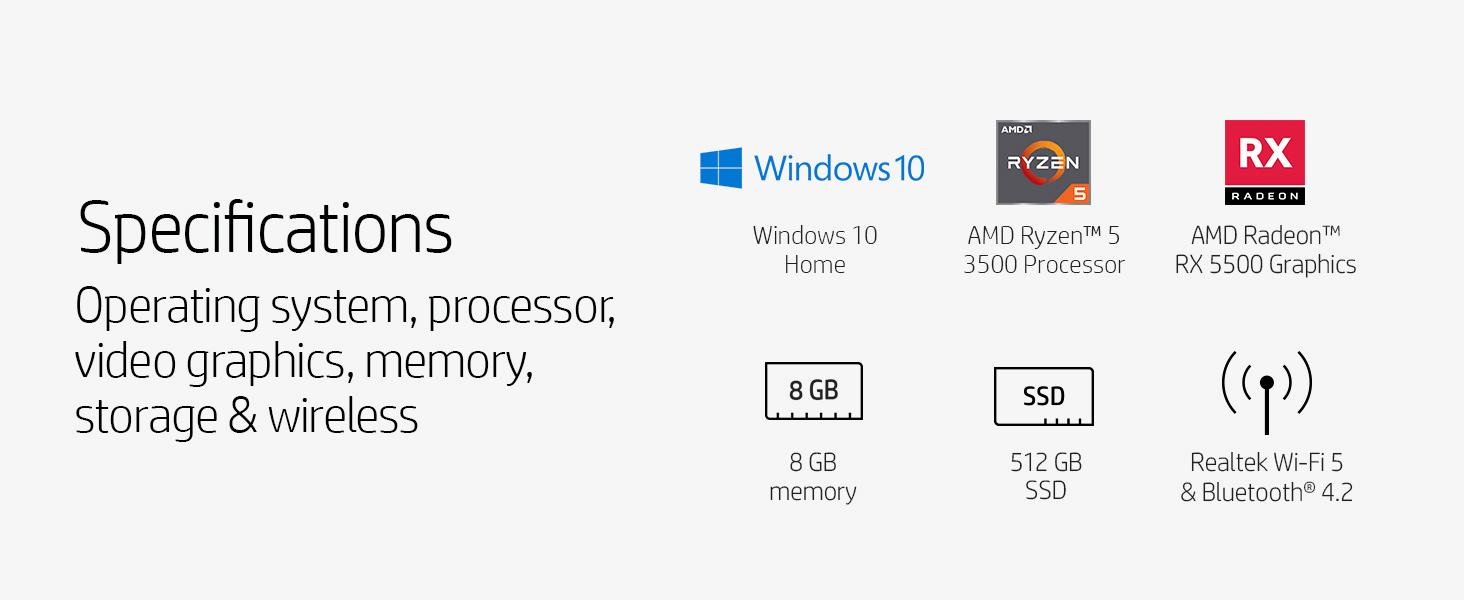AMD Ryzen 5 3500 AMD Radeon RX 5500 SSD solid state drive bluetooth windows 10 home