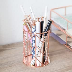 pencil cup, pencil cup holder, copper pencil cup, wire pencil cup, u brands