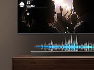 Samsung Q60R Soundbar with soundwave above it