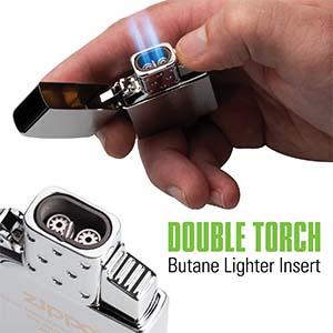double torch, butane,blue flame, reusable, refillable, zippo, zippo lighter, thunderbird,