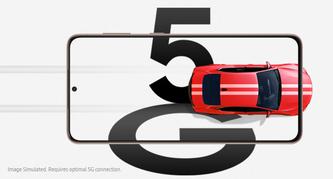 A red car on the phone screen with tire marks behind it to symbolise the fast speed of 5G
