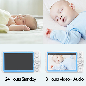Acenz Video Baby Monitor with 5 Inches Display Two-Way Talk Remote Pan /& Tilt /& Zoom 3000mAh Lithium Battery No Glow Night Vision 720P HD Resolution Sound /& Temperature Alert