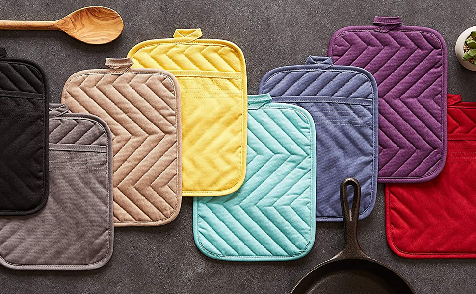 hot hands pot holders ovenmitts oven protection heat shield red black yellow purple taupe black
