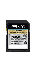 256GB Elite Performance Class 10 U3 SDXC Flash Memory Card