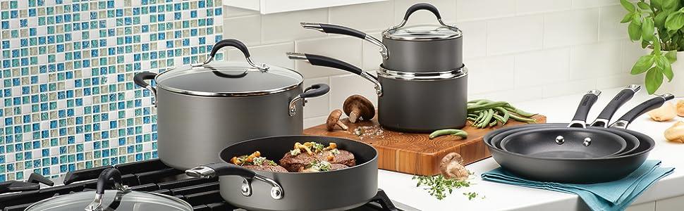 pots and pans, cookware, nonstick cookware, hard anodized cookware, circulon cookware, nonstick pans