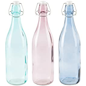 Levivo - Set de 3 botellas de vidrio de varios colores con tapón mecánico