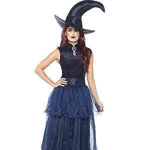 Smiffys Disfraz Deluxe de Bruja de Medianoche, Negro, con Vestido ...