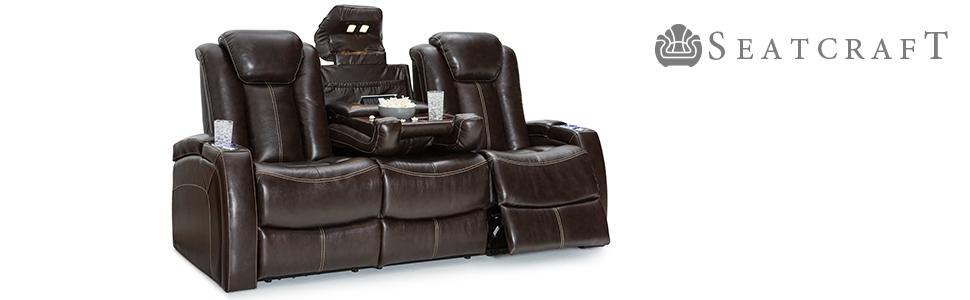 Amazoncom Seatcraft Republic Leather Home Theater Seating Power - Home theater sofa