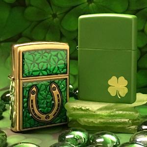 clover lighters, irish, irish lighter, zippo, zippo lighters, four leaf clover, lucky horseshoe