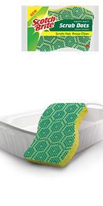 Scotch-Brite Scrub Dots Heavy Duty Scrub Sponge, Scrubs Fast, Rinses Clean