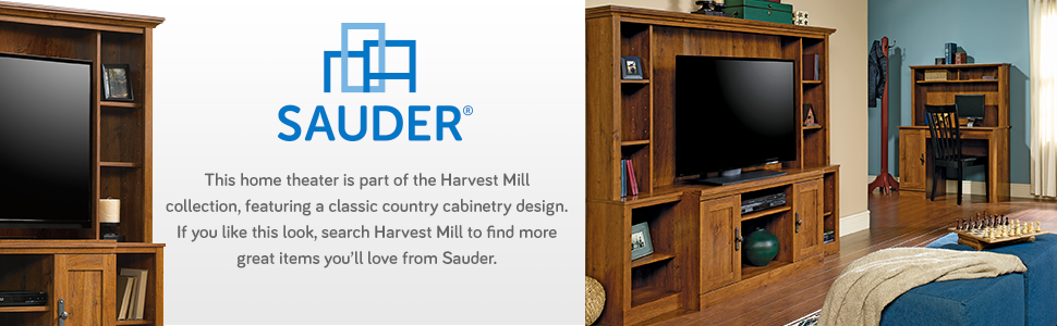 Sauder harvest mill home theater in abbey oak finish kitchen dining - Sauder harvest mill home theater ...