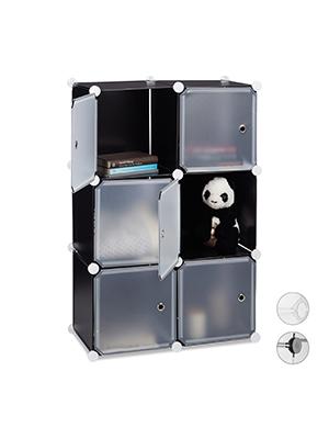 Raumteiler transparent Regalsystem 6 T/üren Relaxdays Cubes Griff/öffnungen Badregal DIY HBT 98x66x32cm Kunststoff