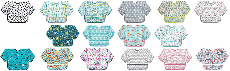 bumkins bib, bumpkins bib, sleeved bib, waterproof bib, bib with pocket, bumkins sleeved bib