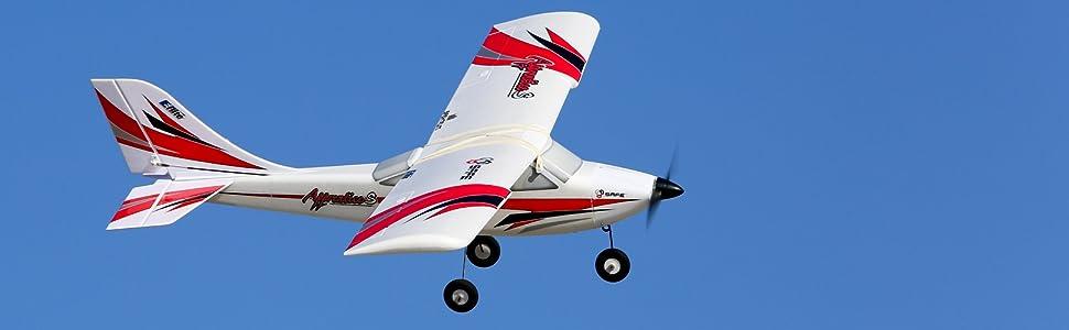 White with red and black trim scheme E-flite Apprentice S 15e RC Airplane in flight