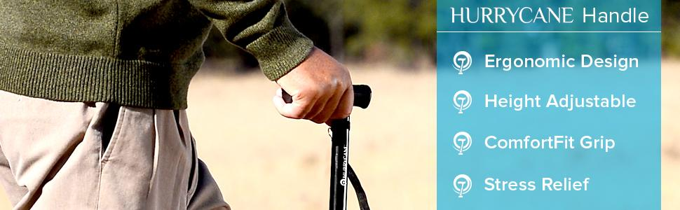 HurryCane Handle: Ergonomic Design, Height Adjustable, ComfortFit Grip, Stress Relief