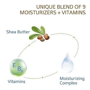 Unique blend of 9 moisturizers + vitamins