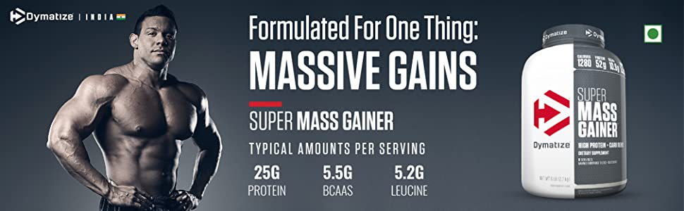 dymatize super mass gainer rich chocolate protein BCAA leucine massive gains muscle size strength