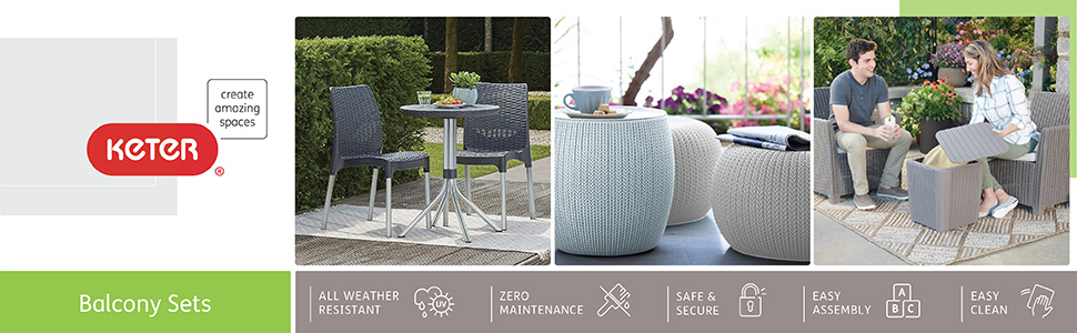 Keter Knit Collection Cozy Urban Furniture Set with table and two chairs