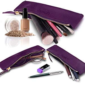 Zippered Genuine Leather Pen and Pencil Pouch
