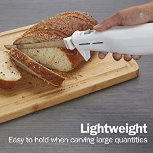 Proctor Silex Easy Slice Electric Knife for Carving Meats, Poultry, Bread, Crafting Foam and More, Lightweight with Contoured Grip, White (74311Y)